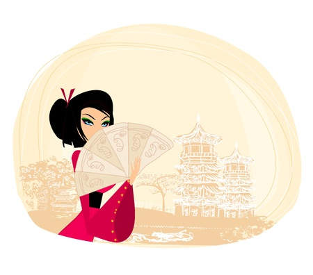 geisha and abstract Asian Landscape Vector