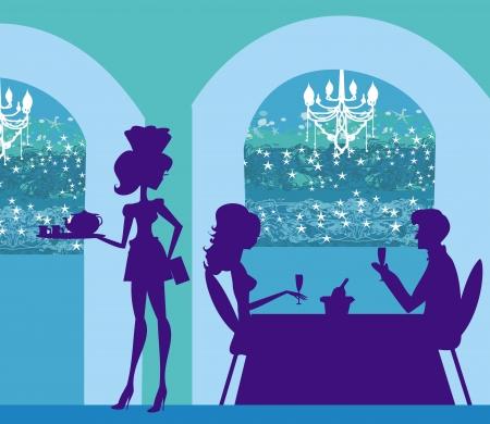 beautiful eating: waitress serving coffee Illustration