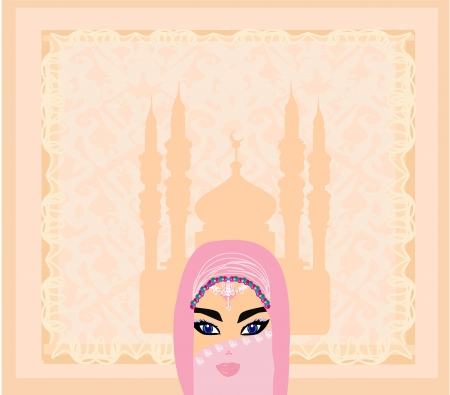 beautiful muslim women on mosque background.  Vector