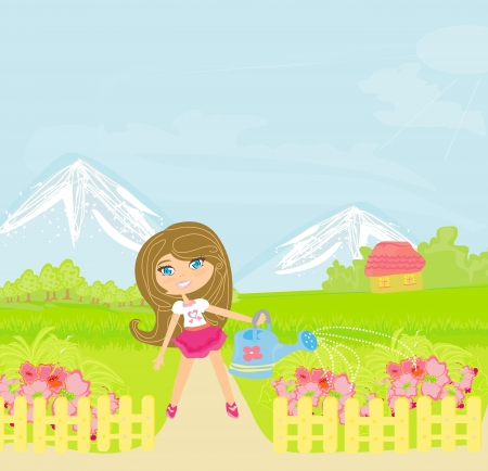 Illustration of a girl watering the flowers  Vector