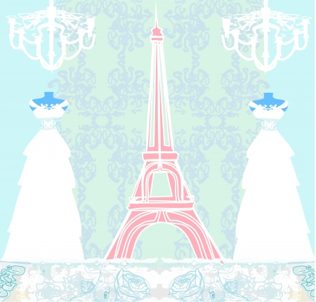 mannequin and Eiffel Tower - abstract design Vector