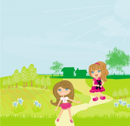 sweet girls with cute kitten in the garden  Vector