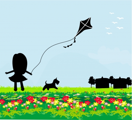 girl with flying kite. Vector