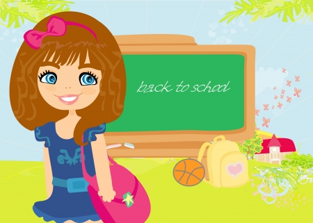 illustration of back to school girl  Vector