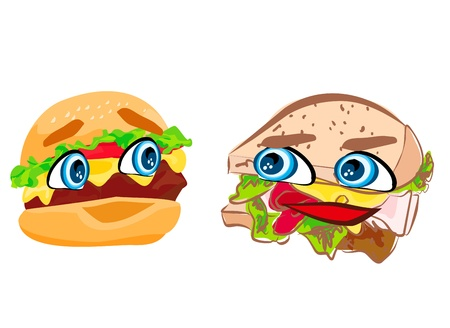 hamburger and sandwich with cute face Stock Vector - 19154307