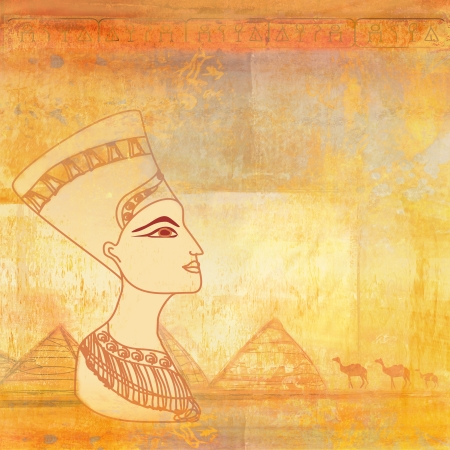 old paper with Egyptian queen  photo