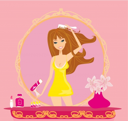 beautiful woman drying her hair by dryer  Illustration