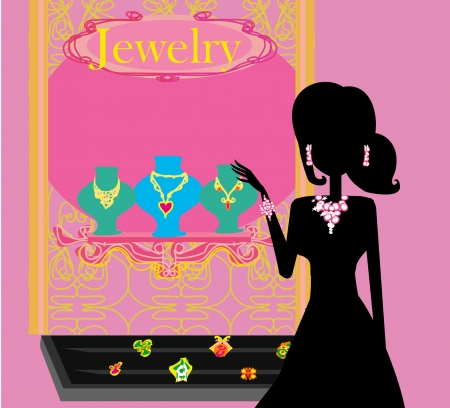Girl and jewellerys  Vector