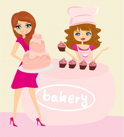 small business woman:  illustration of a woman buying cake at a bakery store  Illustration