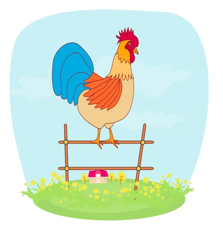 warble: illustrations of crowing rooster on farm