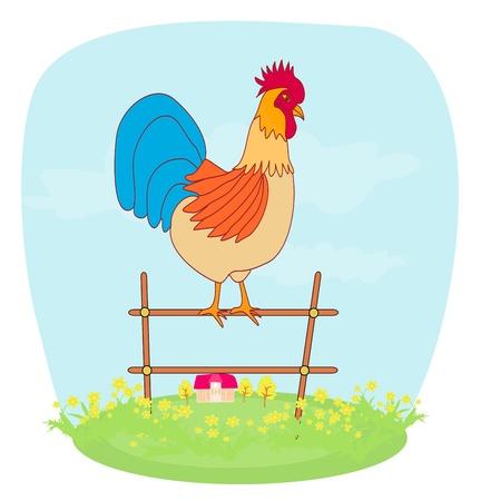 rooster at dawn: illustrazioni di canto del gallo nella fattoria