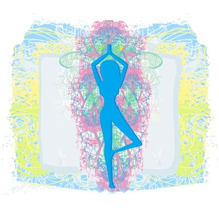 практика: Женщина в традиционной позе йога векторные иллюстрации