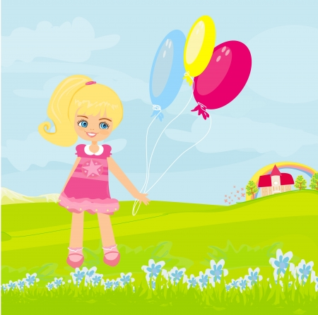 Happy little girl with balloons   Vector