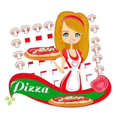 sweet girl serving pizza