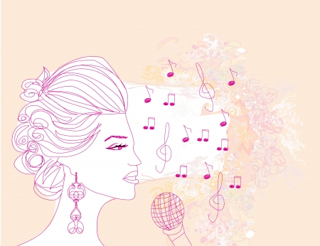 hand drawn girl singing a song on a floral background Stock Vector - 19263211