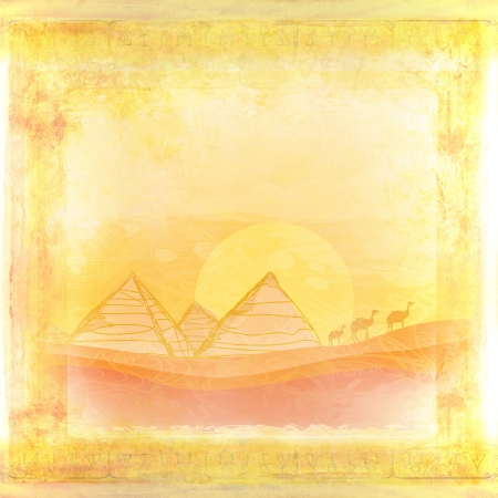 old paper with pyramids  photo