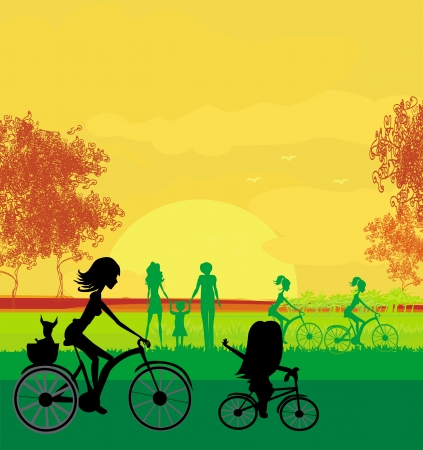 family with one child: Mother and daughter biking in the park  Illustration