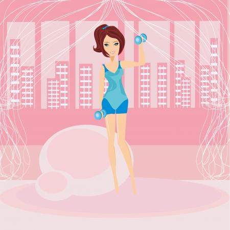 Mädchen, die Ausübung in einem Fitness-Studio
