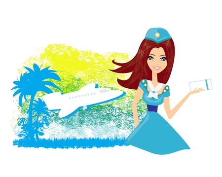 airline hostess:  Beautiful stewardess with ticket  Illustration