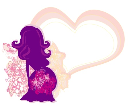 The pregnant girl in a flower, abstract background Vector