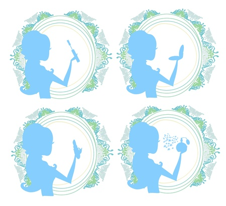 Make-up girl icon set Vector