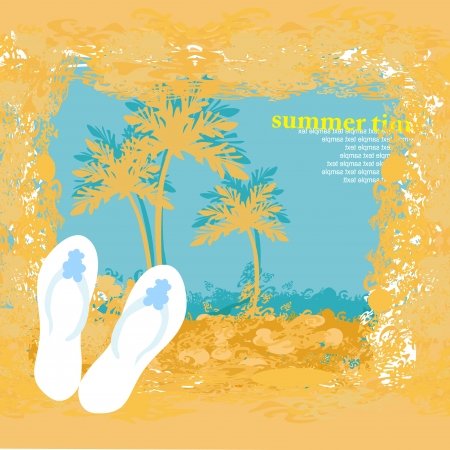 Summer holiday grunge background with slippers