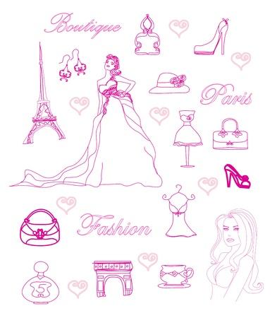 Pariser Mode Doodles gesetzt Vektorgrafik
