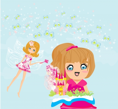 little girl reading fairy tales Stock Vector - 19502874