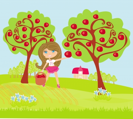 A little girl collects apples in sunny day Stock Vector - 19502888