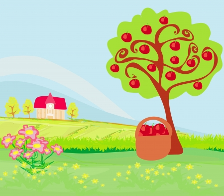 apple tree and cottage , landscape Vector