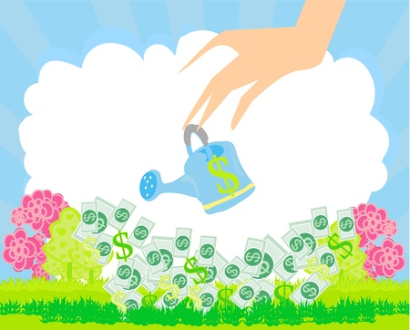 Human hand with a pot watering growing money Vector
