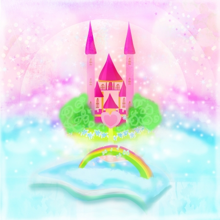 Magic world of tales, fairy castle appearing from the book  photo
