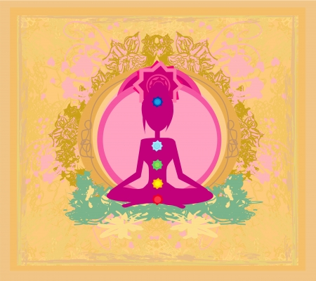 yogi aura: Yoga lotus pose. Padmasana with colored chakra points.