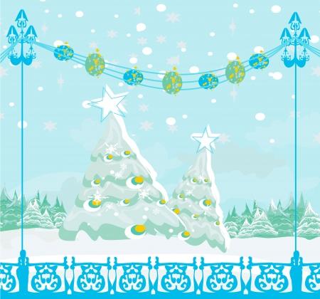 christmas tree card , winter landscape