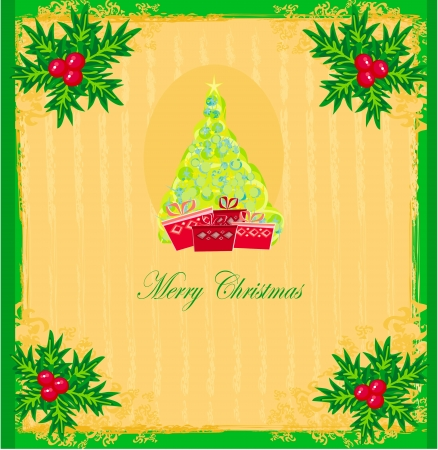 christmas tree with abstract holly berry decoration Vector