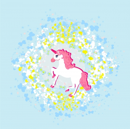 Vector Illustration of beautiful pink Unicorn.  Vector