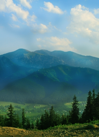 Mountains with green forest landscape.  photo