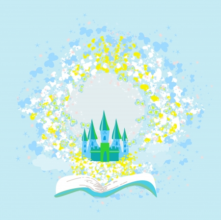 Magic world of tales, fairy castle appearing from the book Stock Vector - 19631006