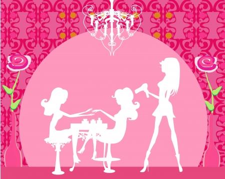 Vector illustration of the beautiful woman in beauty salon  Ilustração