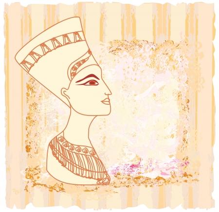 vellum: vecchia carta con la regina egiziana Cleopatra Vettoriali