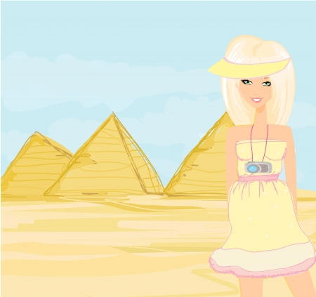 cheops: Happy tourist visits the Pyramids