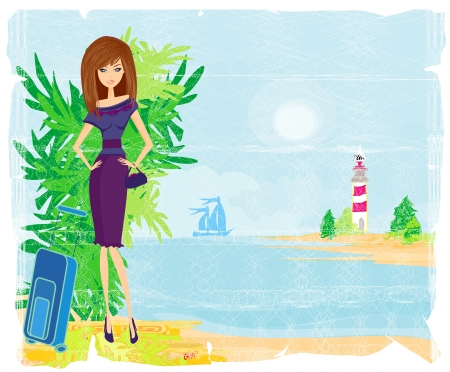 voluptuous: Grunge banner with palm trees and travel girl