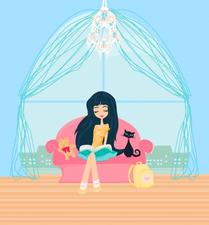 Teen girl Reading A Book  Stock Vector - 19631028
