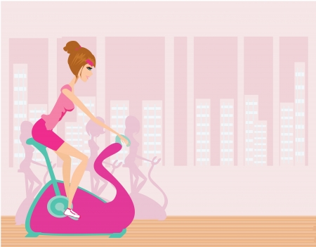 Indoor Cycling - Girls cycling at Gym  Vector