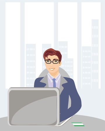 Young businessman with credit card on his laptop  Vector