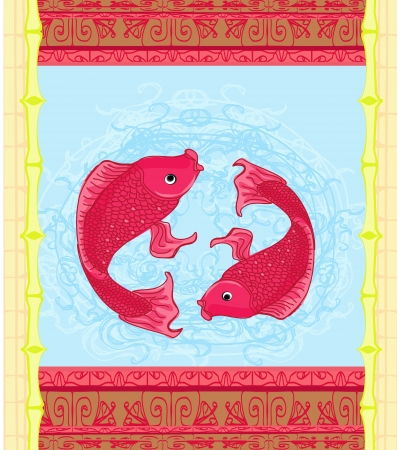 Japanese Koi Fish or Chinese Carp card Stock Vector - 19631050