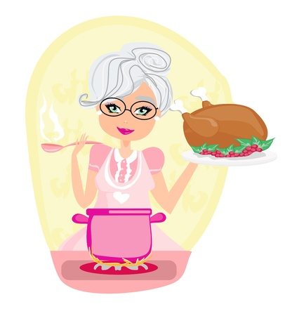 stereotypical housewife: grandmother cooking soup and serving chicken Illustration