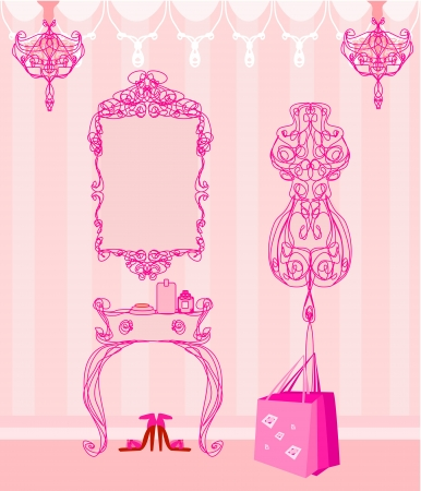 elegant style dressing room Vector