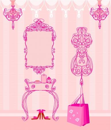 old mirror: elegant style dressing room Illustration