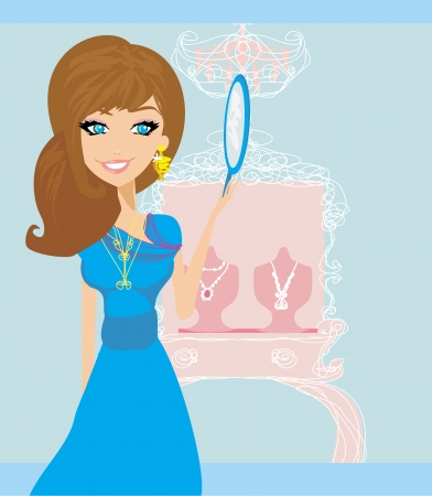 Girl and jewelry  Vector